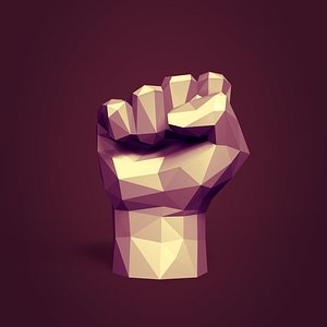 Low Poly Cartoon Fist Figurine - Ready for 3D Printing 3D model