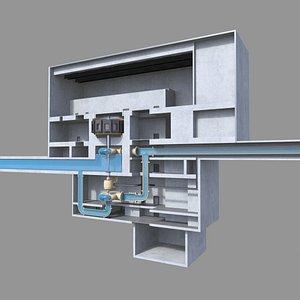 Pumped Storage hydroelectric Power Plant 3D model