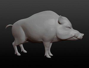 Wild boar base mesh 3D model