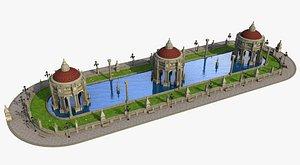 3D Fantasy Classic Swimming Pool Temple
