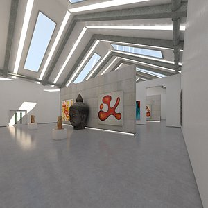 3D realistic art gallery interior model