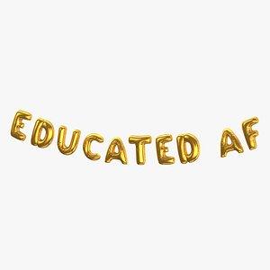 3D Foil Baloon Words Educated AF Gold model