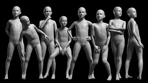 3D Animated Kid 7-20 Years Base Mesh - 8 poses model