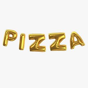 3D Foil Baloon Words PIZZA Gold