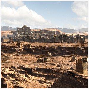 3D Ali Baba Arab Desert City landscape Scene