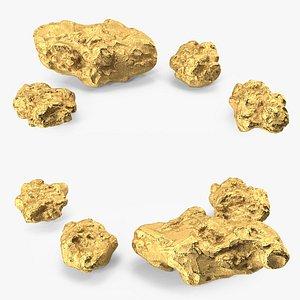 3D Gold Natural Minerals Big Stones