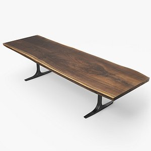wood slab dining table model