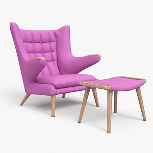 Papa Bear Chair And Ottoman Violet 3D model