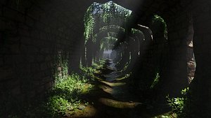 3D tunnel ruins scene model