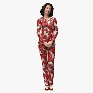 3D Asian Woman in Satin Pijama