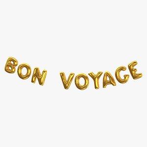 Foil Baloon Words BON VOYAGE Gold 3D