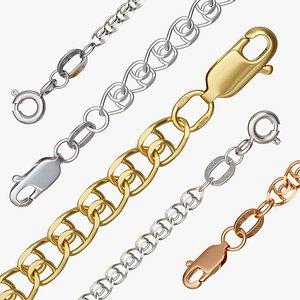Love's Diamond cut chain CH011 3D