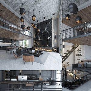 3D Loft Apartment Interior model