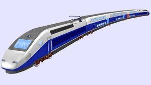 euroduplex tgv passenger train low poly 3D model