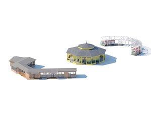 Village buildings pavilion pergola summerhouse 3D model