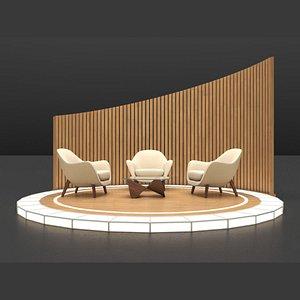 TV Studio Design Talk Show 3D model