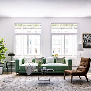 3D scandinavian living room model