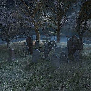 Halloween Cemetery 3D model