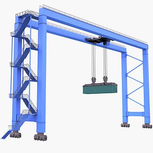 3D RTG Crane and Container