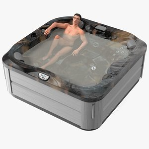 3D Jacuzzi J 335 Hot Tub Midnight with Man Rigged model