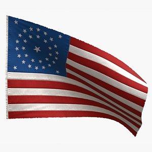 3D 34 stars flag 1861