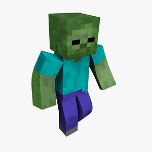 Zombie Minecraft - Mixamo Animatable - Use your own Skin 3D model