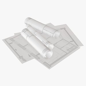 3D model sheet scroll paper