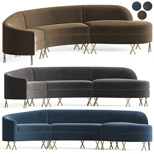 serpentine sectional sofa 3D