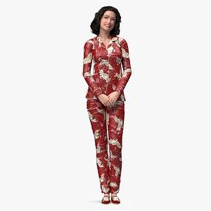 3D Asian Woman in Satin Pijama Rigged model