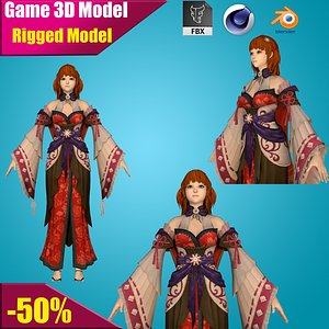 3D model warrior girl young