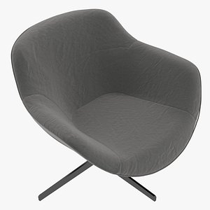 3D Cassina 277-22 Auckland Arm Chair Charcoal Fabric Black Body