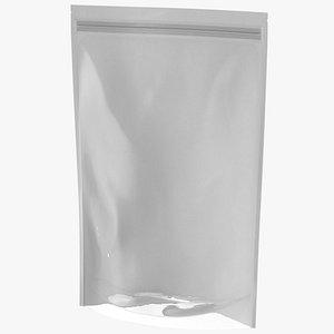 3D Zipper White Paper Bag with Transparent Front 400 g Mockup
