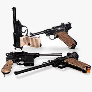 German World War Pistols Collection 3D model