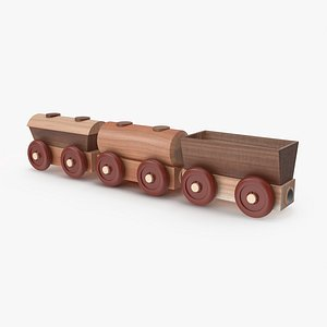 Wooden Toy Railway Wagons 3D Model 3D model