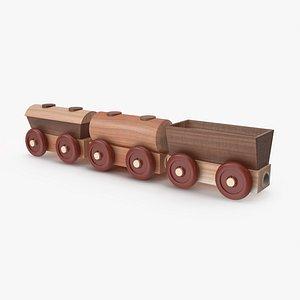 Wooden Toy Railway Wagons 3D Model 3D model