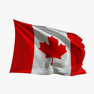 Realistic Animated Flag - Microtexture Rigged - Put your own texture - Def Canada 3D model