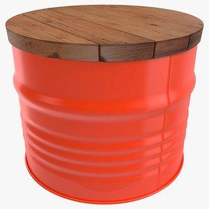 Steel Drum Barrel Table 3D