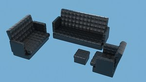 black leather sofa set 3D model