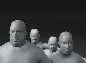 3D Fat Human Body Base Mesh 3D Model Family Pack 10k Polygons
