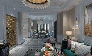 Modern style decoration living room dining room interior design modern aesthetics model