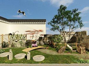3D model Courtyard garden courtyard well stone