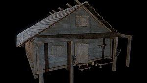 3D model house medieval wood