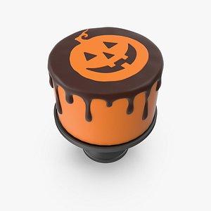 Halloween Cake with Pumpkin Face Topper 3D model