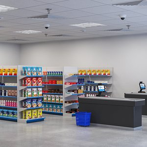 3D Exterior And Interior Grocery Store model