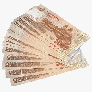 Fan of North Korea 5000 Won 2013 Banknotes 3D model