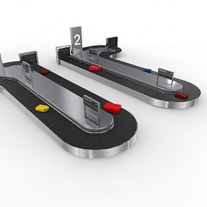3D Two Side Airport Baggage Carousel Conveyor model