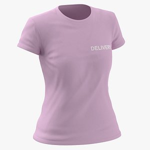 Female Crew Neck Worn Pink Delivery 01 3D model