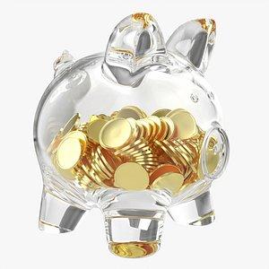 3D Glass piggy money bank with coins