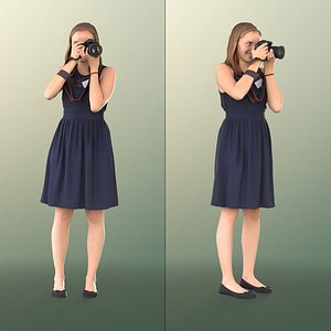 girl summer dress 3D model