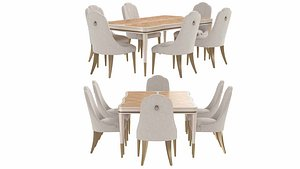 Michael Amini AICO  Malibu Crest dining table and chairs 3D model